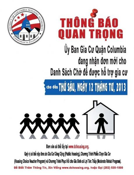 DC Housing Authority Flyer - Vietnamese Version
