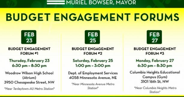 FY 2018 Budget Engagement Forum Dates