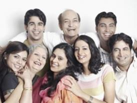 happy AAPI family group