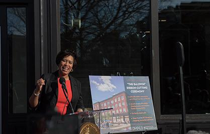 Mayor Bowser at the ribbon cutting ceremony for the Baldwin Apartments