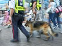 public safety blurred street scene with 2 officers and a canine patroling
